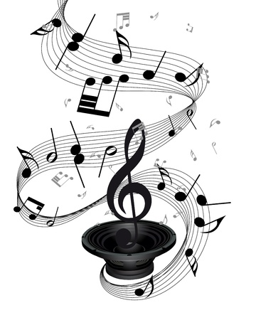 crotchets: Musical notes staff background with loudspeaker. illustration. Illustration