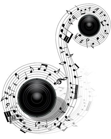 pentagrama musical: Notas musicales personal de fondo con altavoz. ilustración. Vectores