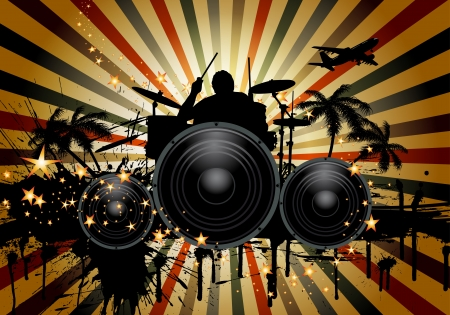 Musical retro grunge background with drummer. illustration. transparency.