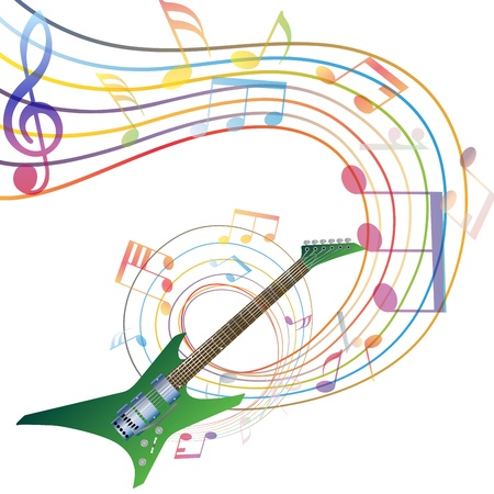 minim: Musical notes staff background with guitar. illustration. transparency.