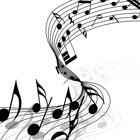 minim: Musical notes staff background with lines. illustration. Illustration