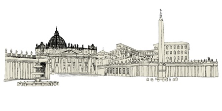 ancient rome: Vatican sketch hand drawn image. illustration.