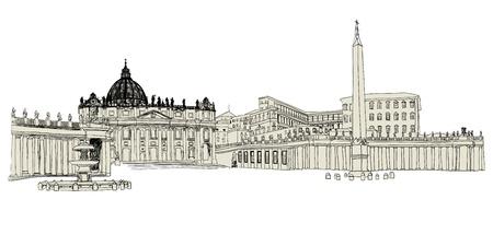 vatican city: Vatican sketch hand drawn image. illustration.
