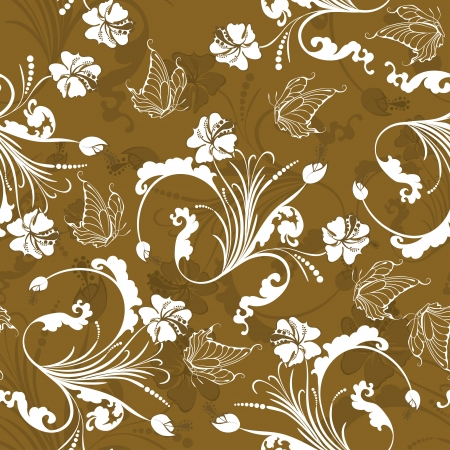 Seamless floral pattern. For easy making seamless pattern just drag all group into swatches bar, and use it for filling any contours. Stock Vector - 15093161