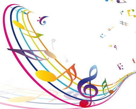 minim music note: Multicolour  musical notes staff background. illustration with transparency