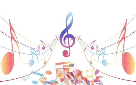 pentagrama musical: Notas de fondo multicolor musical personal. ilustración con transparencia
