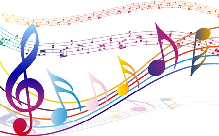 music dj: Multi colour  musical notes staff background. illustration with transparency