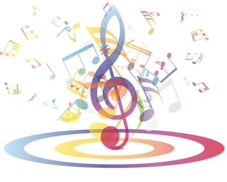 Multicolor note musicali del personale sfondo. illustrazione con trasparenza