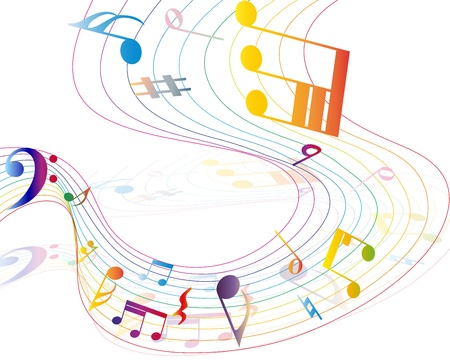 bass clef: Multicolour  musical notes staff background. illustration.  Illustration
