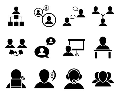 person: Office and people icon set. illustration. Illustration