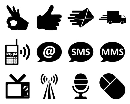 web mail: Office and communication icon set. illustration. Illustration