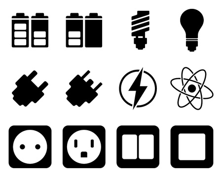 plug adapter: Electricity and energy icon set. illustration.