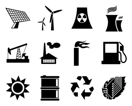 electric power: Electricity, power and energy icon set. illustration.