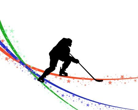 Hockey player silhouette with line background. illustration. Vektoros illusztráció