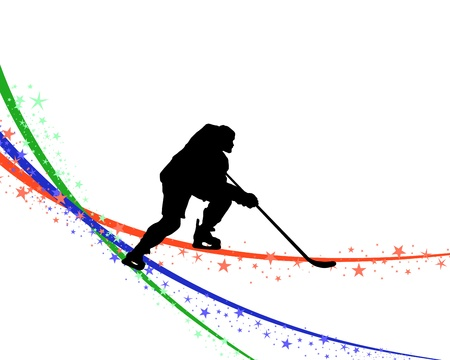 ice hockey puck: Hockey player silhouette with line background. illustration. Illustration