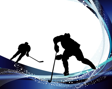 Hockey player silhouette with line background. illustration. Vector