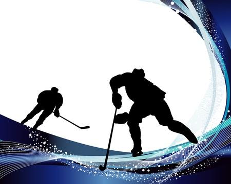 hockey sobre hielo: Jugador de hockey silueta con el fondo de la línea. ilustración. Vectores