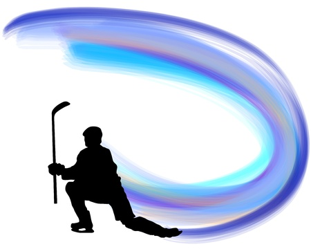 Hockey player silhouette with line background. illustration with transparency  Illustration