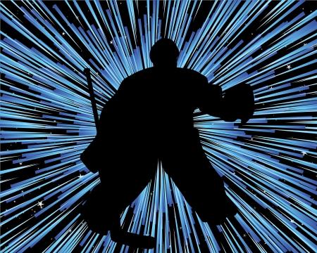 schaatsen: Hockey speler silhouet met lijn achtergrond. illustratie.