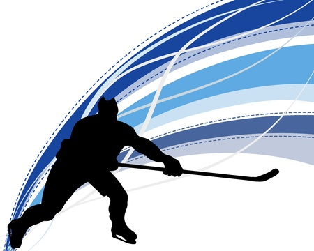defense equipment: Jugador de hockey silueta con el fondo de la l�nea. ilustraci�n. Vectores