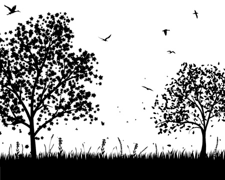 grass silhouettes background. All objects are separated. Stock Vector - 15307370
