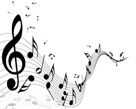 clef de fa: Musical notes de fond avec des lignes de personnel. Vector illustration. Illustration
