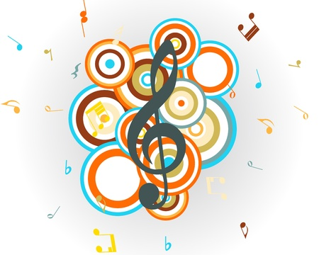 Musical retro notes staff background. illustration. Vector
