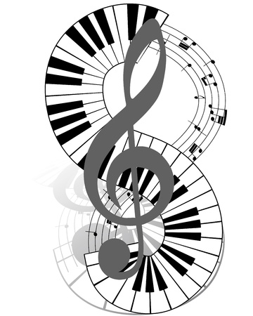 Musical notes staff with piano keyboard. illustration. Vector