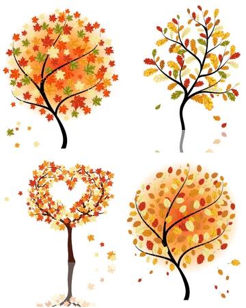 Set of four autumn tree. illustration.