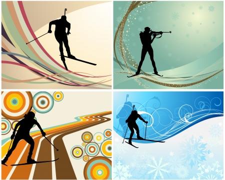 Sport achtergrond ingesteld met biathlon atleet. illustratie. Vector Illustratie