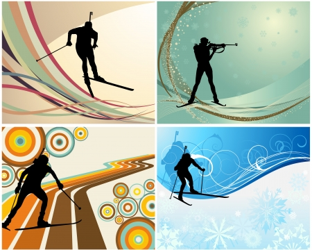 snow track: Sport background set with biathlon athlete. illustration.