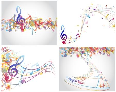 note musicali: Multicolor note musicali del personale sfondo. illustrazione con trasparenza Vettoriali