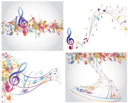 bass clef: Multicolour  musical notes staff background. illustration with transparency