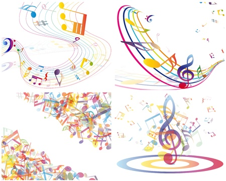musical staff: Multicolour  musical notes staff background. illustration with transparency