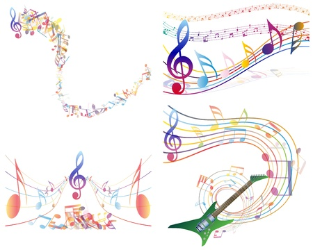 minim: Multicolour  musical notes staff background. illustration with transparency