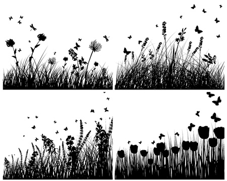 grass silhouettes background. All objects are separated. Stock Vector - 15307569