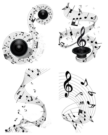Musical note staff set. Four images. illustration. Vector