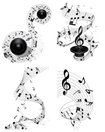 pentagrama musical: Personal Nota musical establecido. Cuatro imágenes. ilustración.
