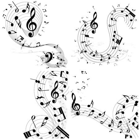 minim: Musical note staff set. Four images. illustration. Illustration