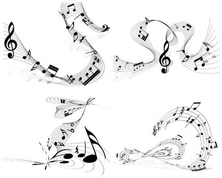 clave de fa: Personal Nota musical establecido. Cuatro imágenes. ilustración.