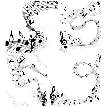 Musical note staff set. Four images. illustration. Illustration