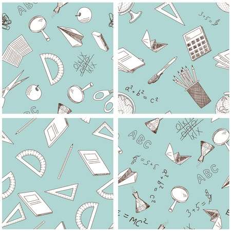 School theme seamless background set. illustration.  Vector