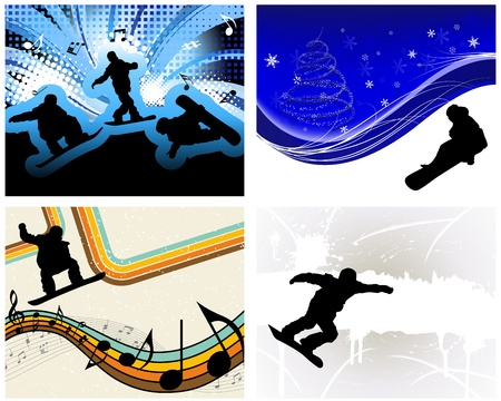 Sport background set with snowboard athlete. illustration. Vector