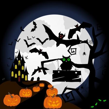 Happy halloween theme greeting card. illustration. Stock Vector - 15315386