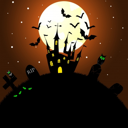 Happy hallo ween theme greeting card. illustration. Vector