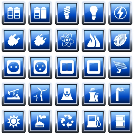 Electricity, and energy icon set. illustration.