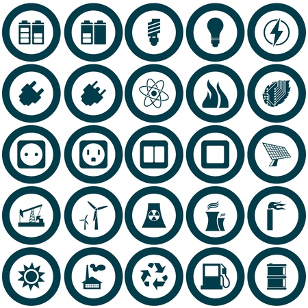 Electricity, power and energy icon set. illustration. Vector
