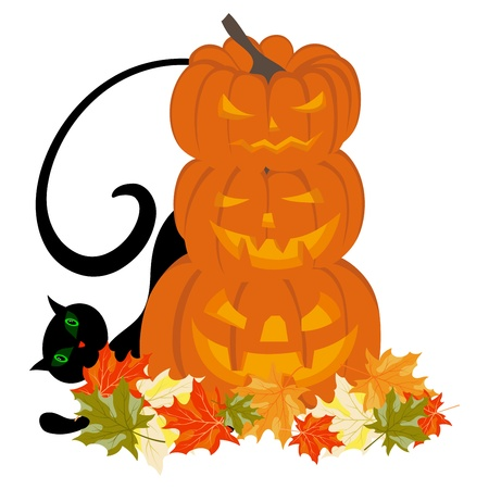 Happy halloween theme greeting card. Vector illustration. Vector