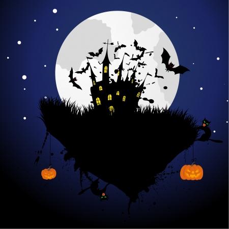 horror castle: Tema Happy halloween saludo tarjeta. Vector ilustraci�n. Vectores