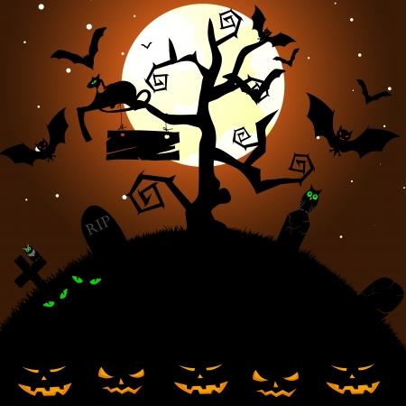 spooky house: Happy halloween theme greeting card. Vector illustration. Illustration